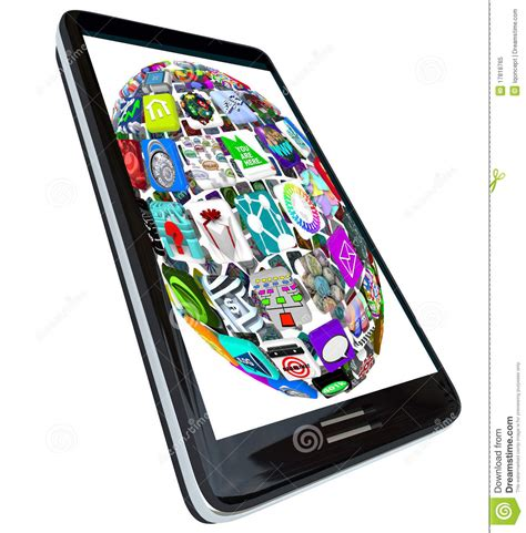 black modern smartphone with application icons on the sphere of app icons on smart phone royalty free stock