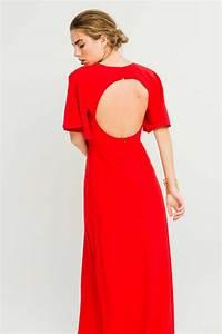Vestido Largo Rojo Manga Ranglan Campana Escote Espalda Abierta