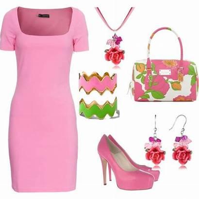 Pink Polyvore Alpha Kappa Outfits Orange Dresses
