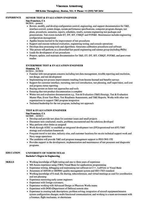 Resume Evaluation by Test Evaluation Engineer Resume Sles Velvet
