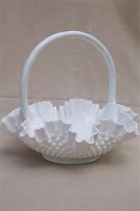 large glass basket, Fenton hobnail milk glass, vintage