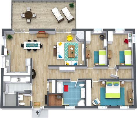 We The Open Plan Design Of This Bedroom And Bathroom by 3 Bedroom Floor Plans Roomsketcher
