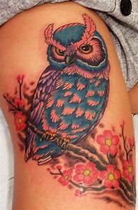 Colorful Owl On Branch Tattoo | www.pixshark.com - Images ...