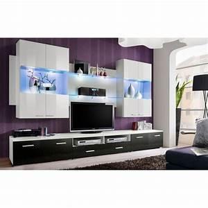 Meuble Design Tv Mural : meuble tv mural design space 300cm noir blanc ~ Teatrodelosmanantiales.com Idées de Décoration