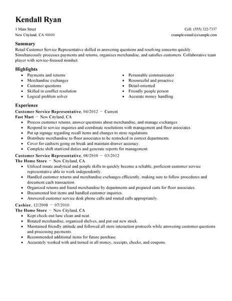 Resume For Customer Service Retail by Best Retail Customer Service Representative Resume Exle