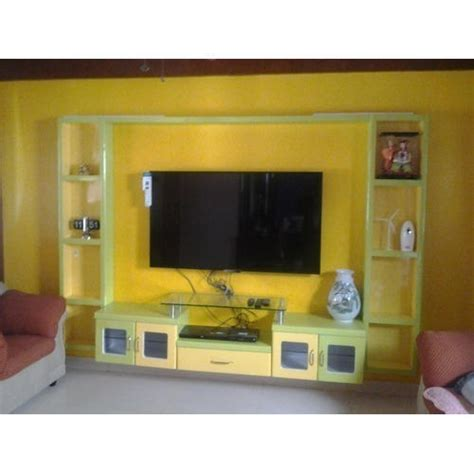yellow wall mounted lcd tv unit rs 26000 unit wood