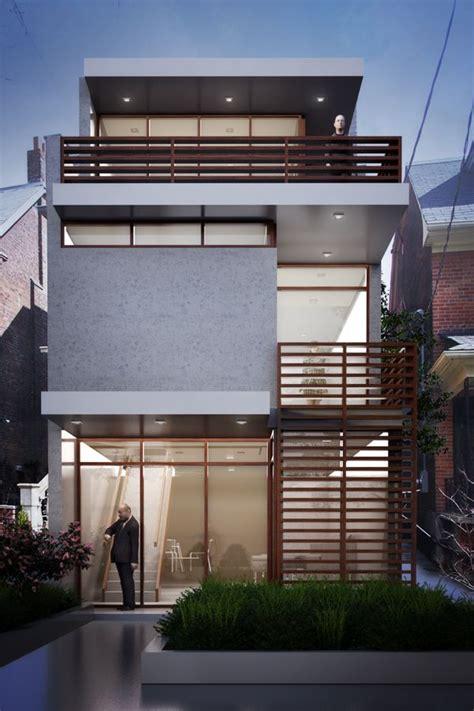 narrow house visualizes  contemporary house   urban