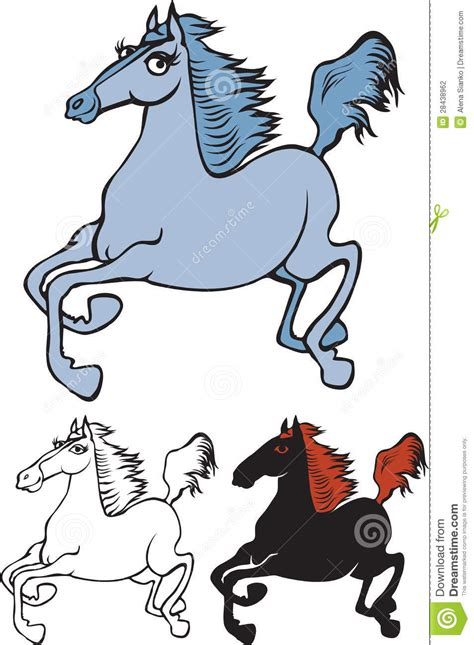 variants   galloping horse cartoon images stock