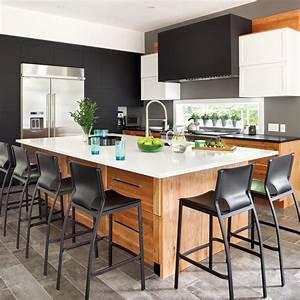 Cuisine Blanc Et Noir : cuisine actuelle en noir blanc et bois je d core ~ Voncanada.com Idées de Décoration