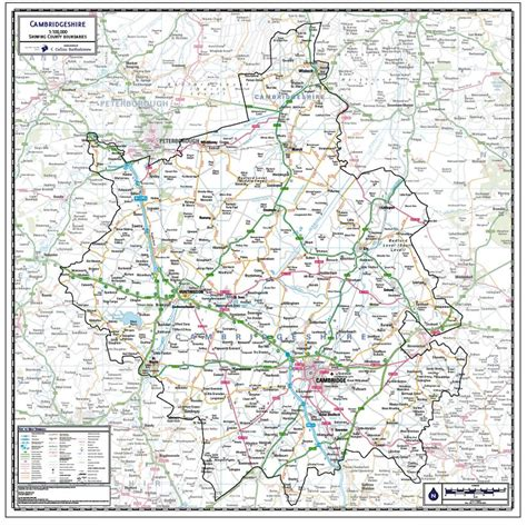 Cambridgeshire County Map - Paper, Laminated or Mounted on ...