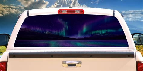 aurora rear window graphic  truck decal suv view