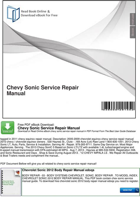 small engine repair manuals free download 2012 land rover discovery security system chevy sonic service repair manual pdf