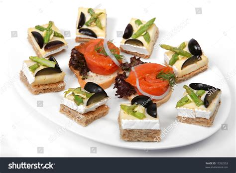 canapé toast a plate of brie cheese on toast canapes and smoked salmon