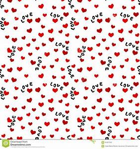 Seamless Background With Love Words And Hearts Stock ...