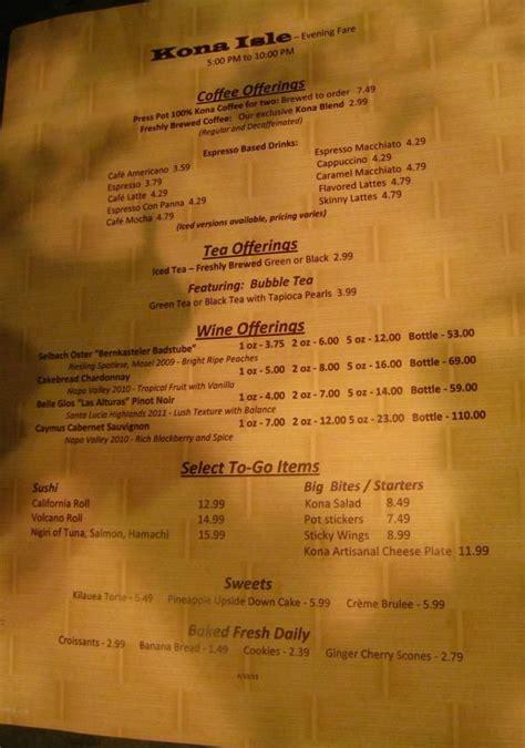 sushi fan cafe menu changes at kona cafe sushi coffee bar