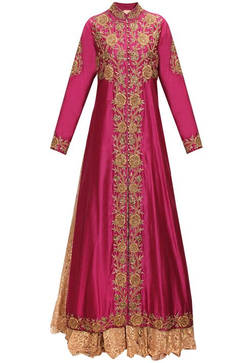 magenta embroidered long jacket  chantilly lace