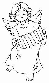 Digi Stamps Accordion Angel Playing Paper Coloring Christmas Advent Dolls Pages sketch template