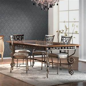 table repas extensible plateau bois pietement fer forge With salle a manger fer