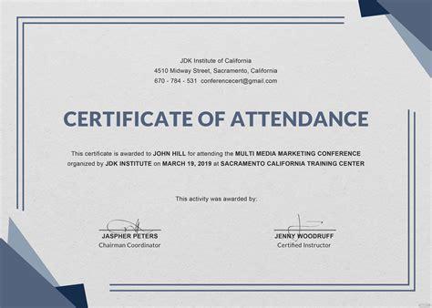 conference attendance certificate template  adobe