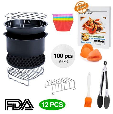 accessories fryer air inch deluxe xl 3qt pcs deep 8qt fda airfryer grade food kitchen without certificate