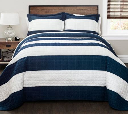 Navy White Quilt by Navy White Stripe 2 Quilt Set By Lush Decor