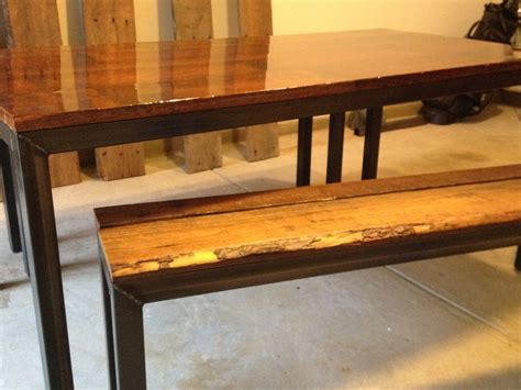 steel framed kitchen table  benches reclaimed