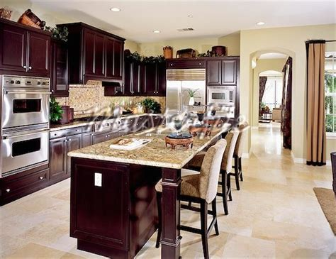wood kitchen with light tile floor kitchens