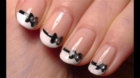 cute  bow nail art simple nail polish art tutorial