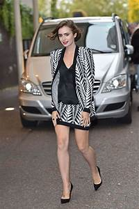 Lily Collins In Mini Skirt