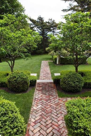 brick pathways landscaping path of herringbone brick gardens pinterest