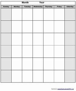 Blank monthly calendar template monday through friday for Saturday to friday calendar template