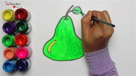 cara menggambar dan mewarnai buah pir mudah untuk anak