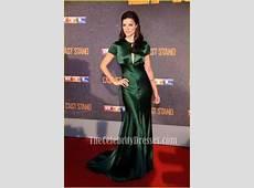 Jaimie Alexander Satin Bias Cut Gown Dark Green Formal