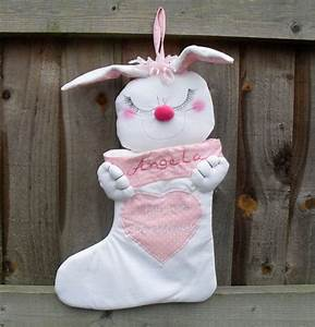 Baby, First, Christmas, Stocking, Personalised, Pink, Bunny, For