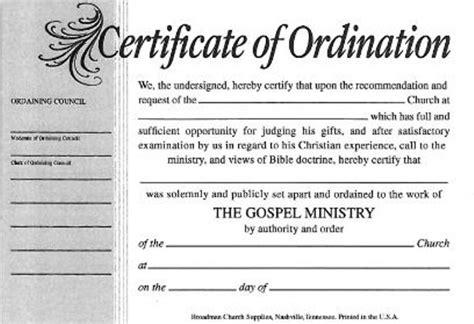 certificate  ordination  minister billfold