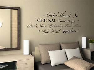 Wandtattoo Für Schlafzimmer : wandtattoo aufkleber design wanddeko f r schlafzimmer gute nacht sprachen ~ Buech-reservation.com Haus und Dekorationen