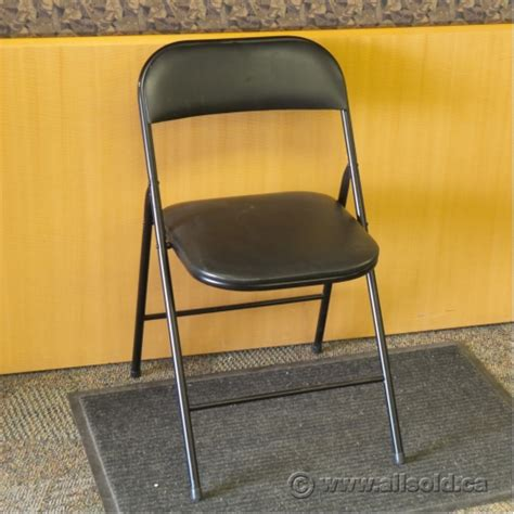 black folding chair with padded seat and back allsold ca