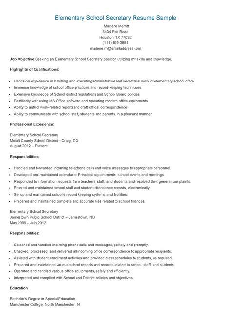 Elementary School Resume by Resume Sles Elementary School Resume Sle