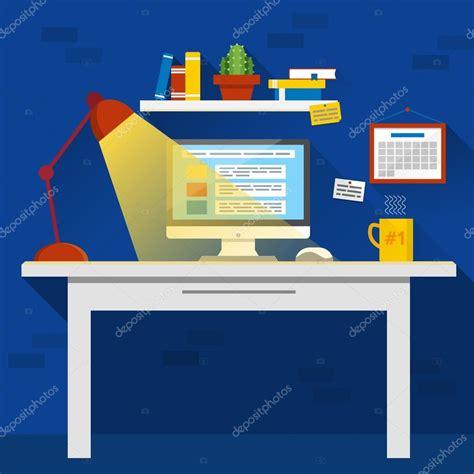 bureau de dessin espace de travail de bureau créatif dessin animé avec