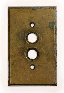 Antique Brass Push-Button Light Switch Plate Covers -- SIX ...