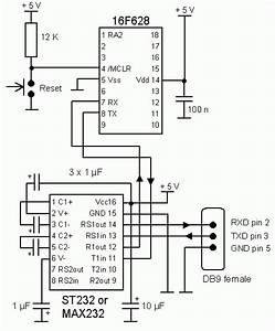 bente petersen39s 9600baud 16f628 uart test circuit and program With max232 datasheet