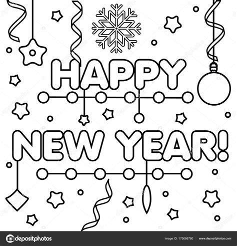 Kleurplaat Happy New Year by Coloring Page With Happy New Year Text Drawing
