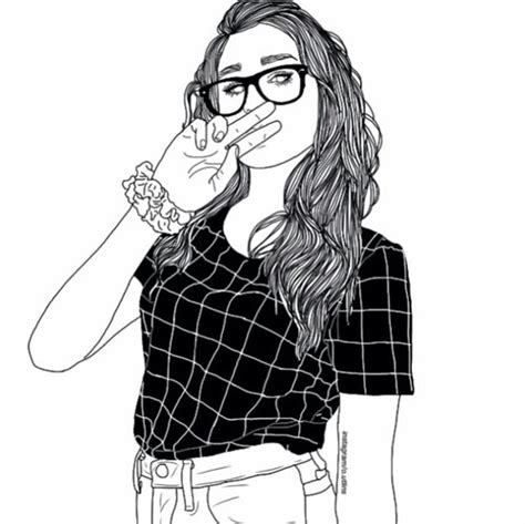 Black White And Best Outline Girl Friend Tumblr Drawing