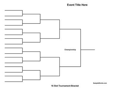 Tournament Draw Sheets Templates by Free Printable 16 Team Tournament Bracket