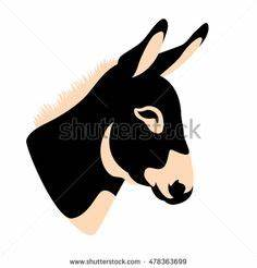 Clip Art Illustration of a Donkey Silhouette | Rec Room ...