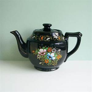 Large Redware Ceramic Teapot Brown with Colorful Flowers