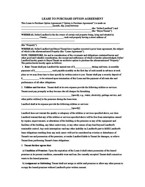Rent To Buy Contract Template by Rent To Own Agreement Template Rent To Own Contract