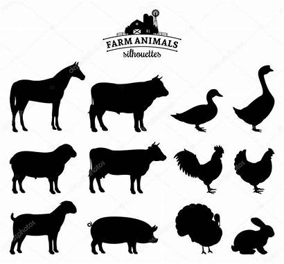 Farm Animals Vector Silhouettes Animal Isolated Silhouette