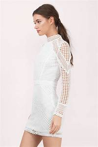 White Bodycon Dress - Netted Lace Dress - White Long ...  White