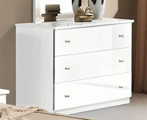 Commode Blanche Chambre : commode 3 tiroirs athena chambre a coucher blanc ~ Teatrodelosmanantiales.com Idées de Décoration